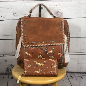 Montana West Western Horse Backpack+ Wallet
